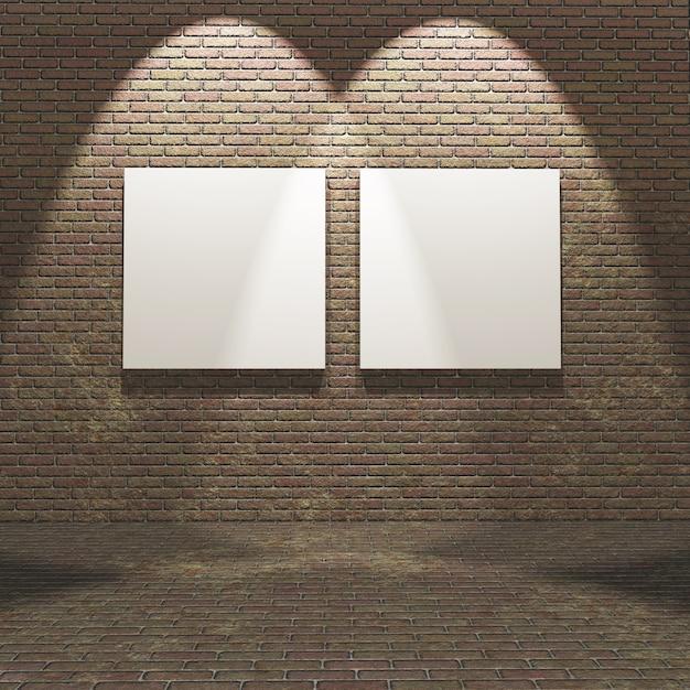 Intérieur 3d avec des toiles vierges sur un mur de briques Photo gratuit