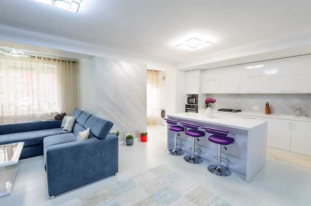 Intérieur d'un appartement blanc moderne avec cuisine Photo Premium