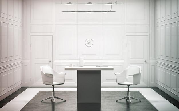 Intérieur de bureau de luxe blanc blanc Photo Premium