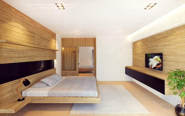 Intérieur de chambre à coucher moderne en décoration en bois ...
