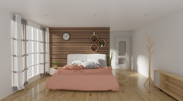 Intérieur de chambre à coucher moderne avec lampe Photo Premium