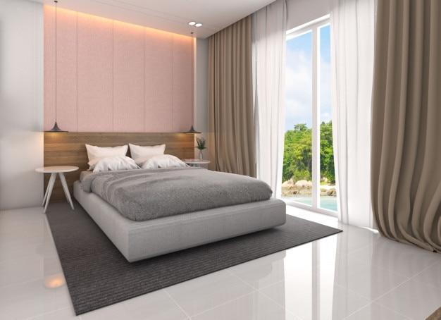 Intérieur de chambre à coucher avec le style scandinave ...
