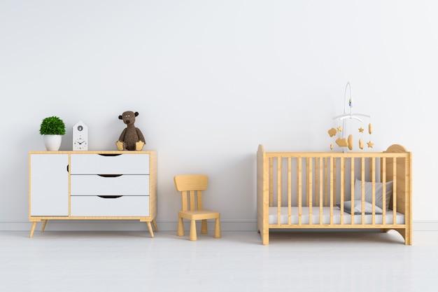 Intérieur de la chambre d'enfant blanc pour maquette Photo Premium