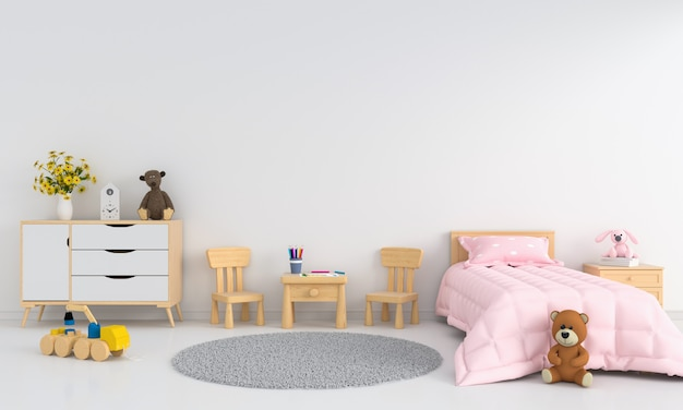 Intérieur de la chambre des enfants blancs pour maquette Photo Premium