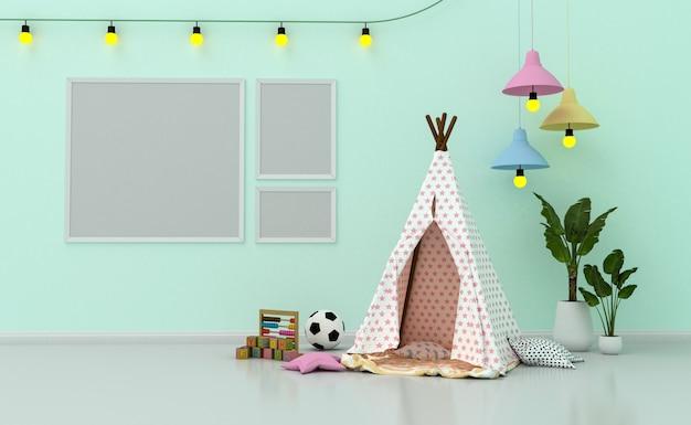 Intérieur De La Chambre D'enfants Avec Une Décoration Mignonne Et Des Cadres Photo Vierges Sur Le Mur. Rendu 3d Photo Premium
