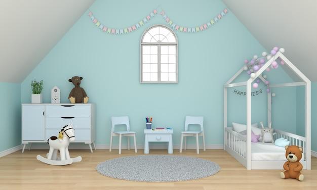 Intérieur de la chambre des enfants vert clair sous le toit pour maquette Photo Premium