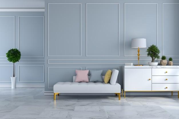 Intérieur de chambre moderne de luxe, blanc daybed sur mur gris ...