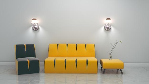 Intérieur de la chambre moderne. rendu 3d Photo Premium
