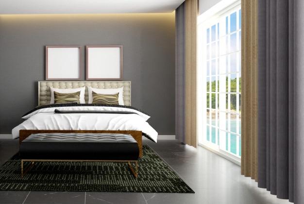 Intérieur de chambre de style scandinave de luxe avec poster maquette Photo Premium