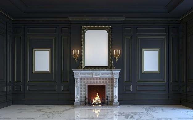 Un intérieur classique est dans des tons sombres avec une cheminée. rendu 3d. Photo Premium