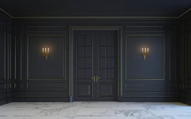 Un intérieur classique est dans des tons sombres. rendu 3d. Photo Premium
