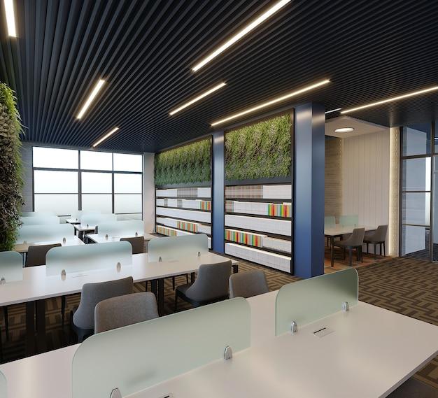 Intérieur D'une Conception De Bibliothèque Avec Table, Chaise Et étagère à Livres, Rendu 3d Photo Premium