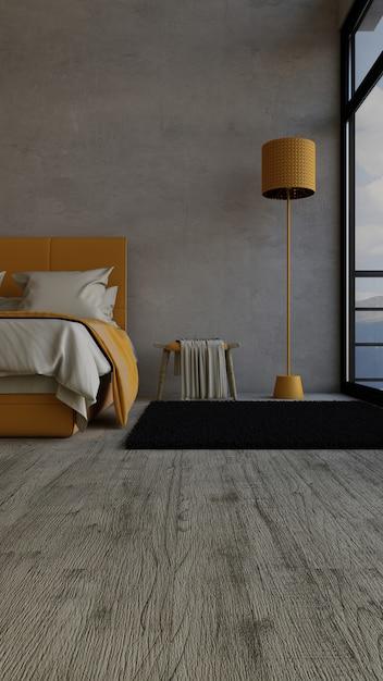 Intérieur contemporain de chambre à coucher 3d Photo gratuit