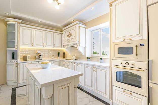 Intérieur de cuisine de luxe de style néoclassique avec îlot Photo Premium
