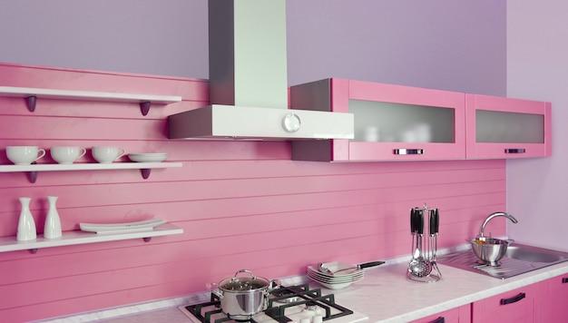 Intérieur de cuisine moderne à décor magenta Photo Premium