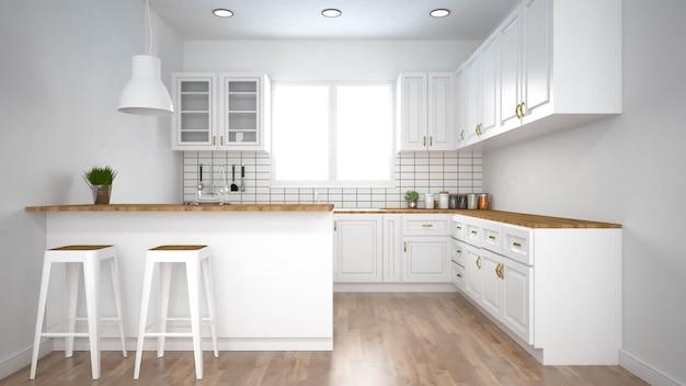 Intérieur de cuisine moderne avec rendu furniture.3d Photo Premium
