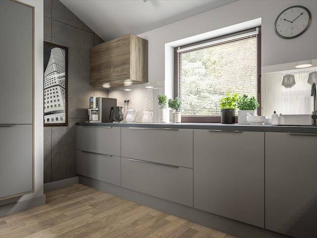 Intérieur de cuisine moderne Photo Premium