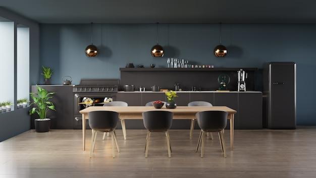 Intérieur de cuisine sombre Photo Premium
