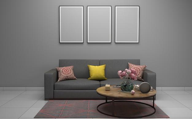 Intérieur du salon moderne avec canapé - canapé et table Photo Premium