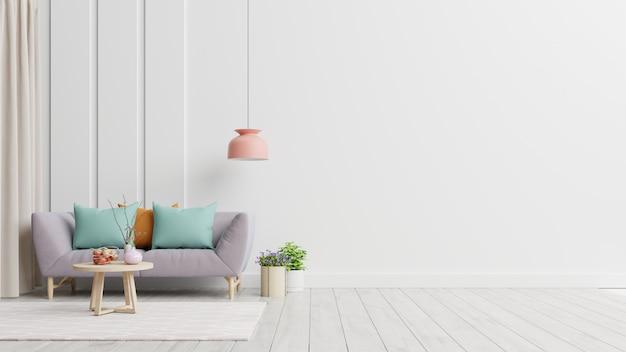 L'intérieur Du Salon Moderne Lumineux Et Confortable A Un Canapé Et Une Lampe Avec Un Mur Blanc. Photo Premium
