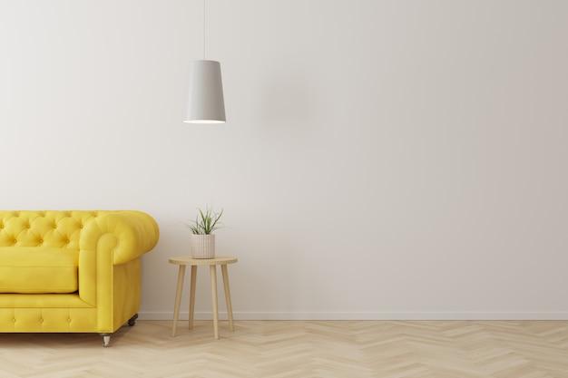 Intérieur du salon de style moderne avec canapé jaune, table d'appoint en bois et plafonnier blanc sur plancher en bois. Photo Premium