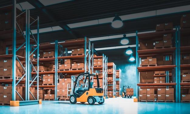 Intérieur d'un entrepôt de stockage avec des étagères pleines de marchandises Photo Premium