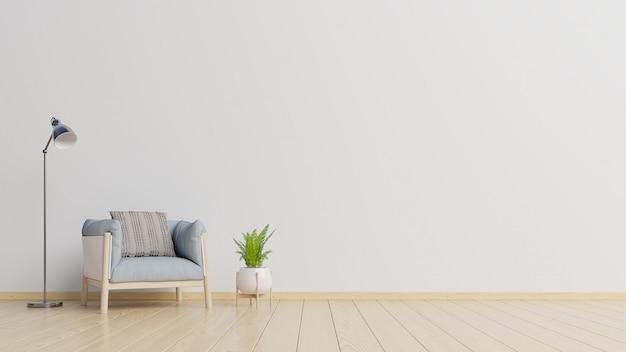 L'intérieur A Un Fauteuil Sur Fond De Mur Blanc Vide. Photo Premium