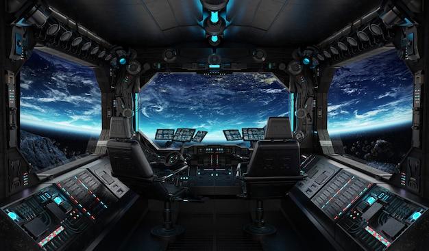 Intérieur de grunge de vaisseau spatial avec vue sur la planète terre Photo Premium
