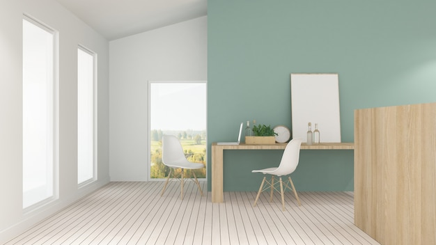 L'intérieur de l'hôtel minimal se détendre l'espace rendu 3d et vue sur la nature Photo Premium