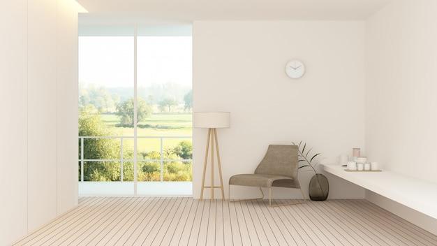 Intérieur hôtel relax espace rendu 3d - nature vue arrière plan Photo Premium