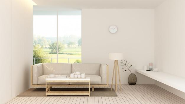 L'intérieur de l'hôtel relaxer l'espace rendu 3d à l'hôtel Photo Premium
