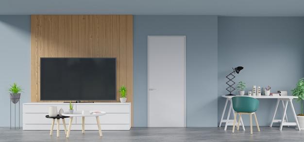 A l'intérieur de la maison qui a la télévision sur le meuble dans une pièce moderne a lampe, fleur, livre et lieu de travail, rendu 3d Photo Premium