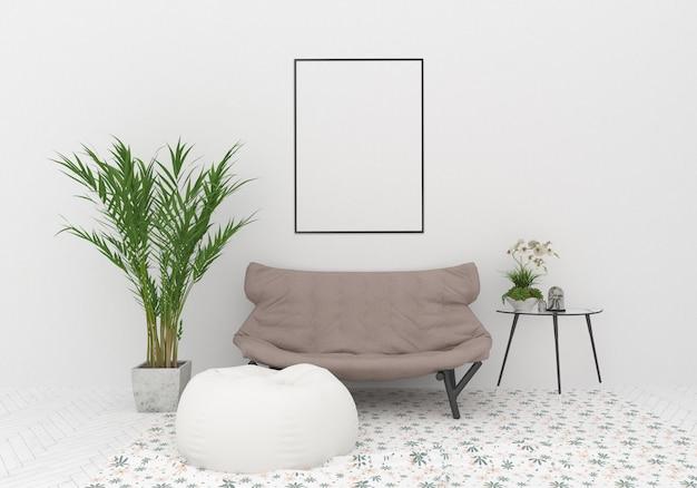 Intérieur avec maquette de cadre vertical Photo Premium
