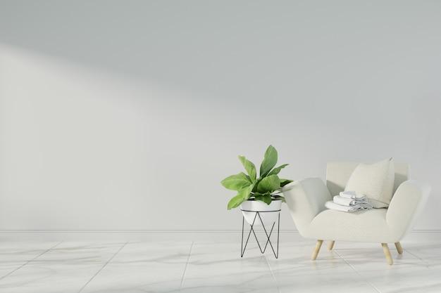 Intérieur maquette avec fauteuil en velours gris Photo Premium