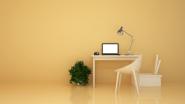 L'intérieur minimal se détendre salle en copropriété et décoration de fond mur de béton rendu 3d Photo Premium