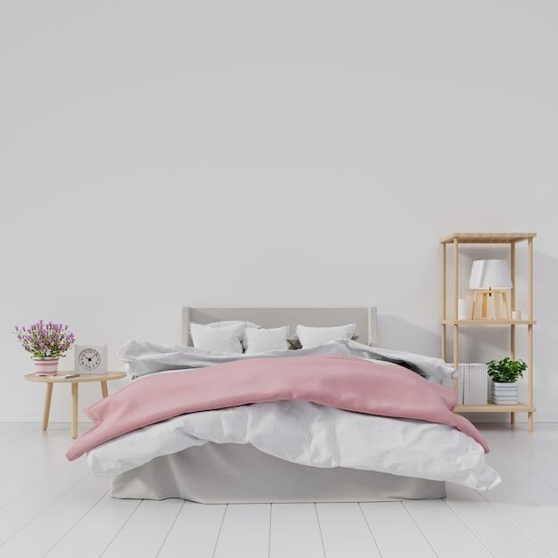 Intérieur moderne de chambre à coucher avec la pièce blanche ont la fleur et la lampe sur l'étagère Photo Premium