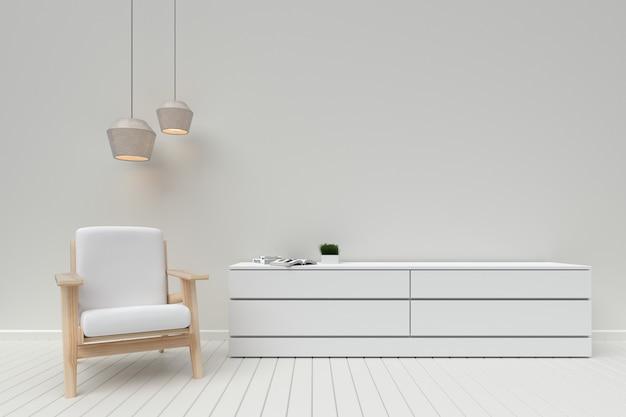Intérieur moderne du salon avec armoire en bois et canapé, rendu 3d Photo Premium