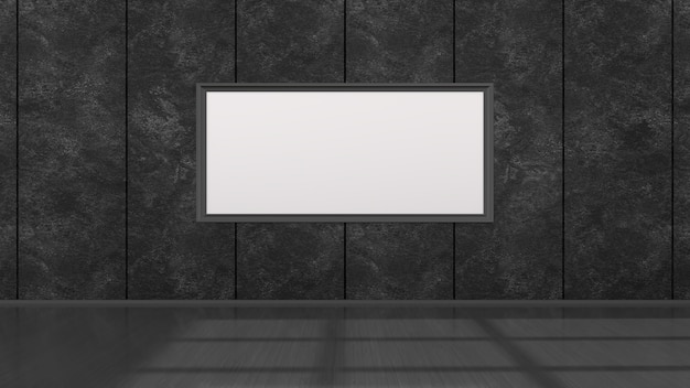 Intérieur Noir Avec Des Cadres Noirs Pour Maquette, Illustration 3d Photo Premium