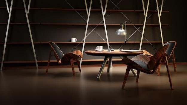 L'intérieur De La Pièce Faiblement éclairée Avec Trois Chaises Et Une Table Est Fait Dans Un Style D'affaires Moderne. Photo Premium