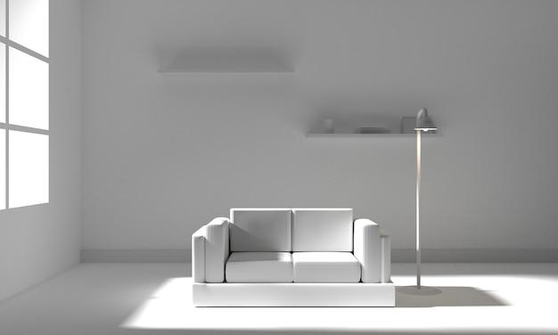Intérieur de la salle blanche avec des meubles. illustration 3d Photo Premium