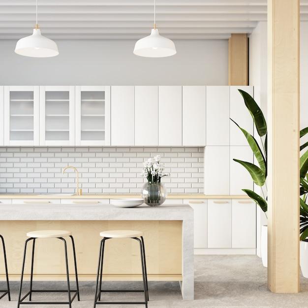 Intérieur De La Salle De Cuisine Loft / Rendu 3d Photo Premium