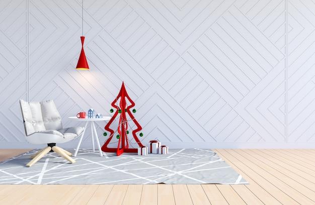 Intérieur de salon blanc avec arbre de noël pour les vacances de noël, rendu 3d Photo Premium