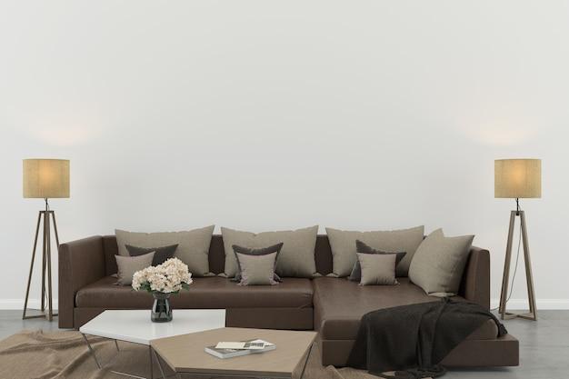 Intérieur salon blanc mur en béton intérieur canapé chaise lampe Photo Premium