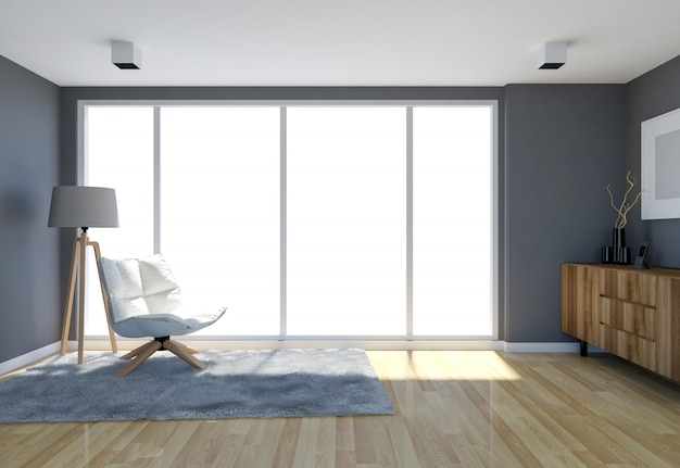 Intérieur de salon contemporain avec mur gris et grandes ...