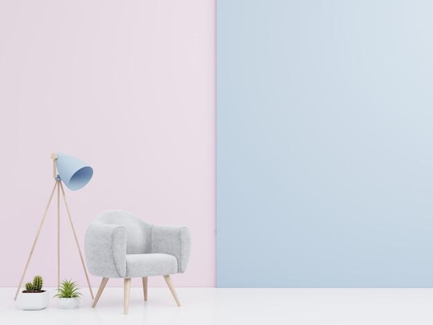 Intérieur de salon avec fauteuil en velours, étagère, lampe avec livres sur un mur de variétés colorées Photo Premium