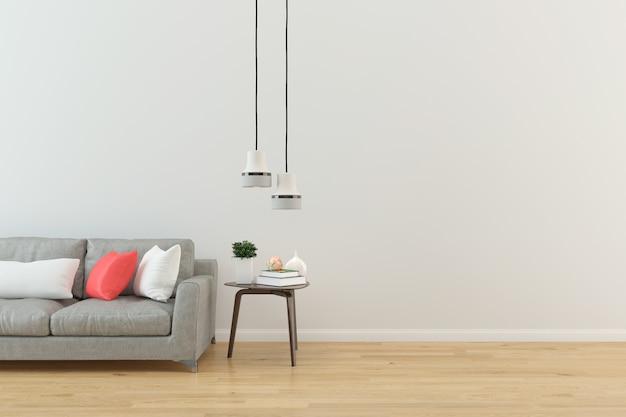 Intérieur salon gris canapé mur moderne parquet parquet ...