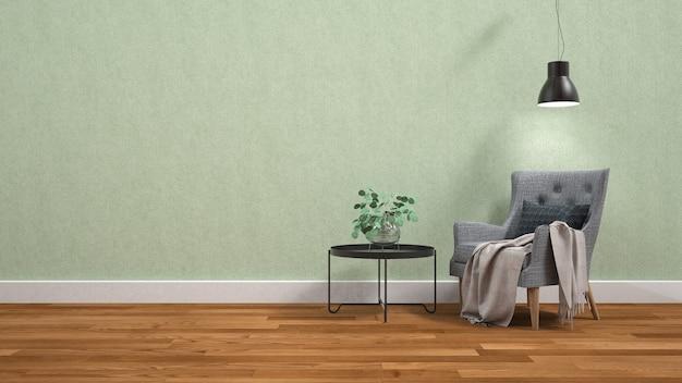Intérieur de salon moderne avec fauteuil et plantes vertes ...