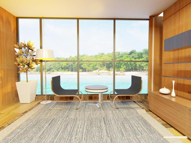 Intérieur de salon moderne avec des illustrations de style ...