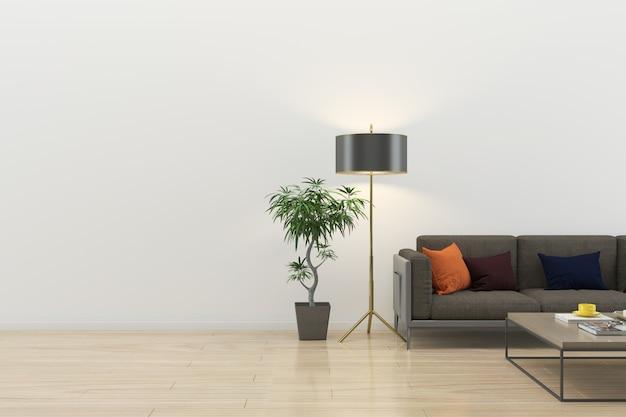 Intérieur salon moderne plancher de bois mur marbre fond texture Photo Premium