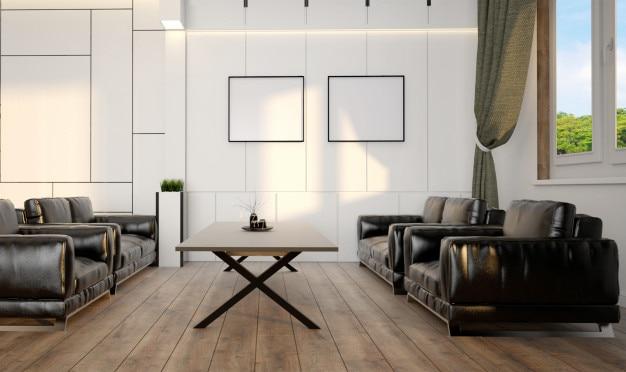 Intérieur de salon moderne scandinave avec de grandes fenêtres ...